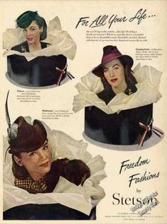 """Stetson Ladies Hats """"Freedom Fashions"""" WWII (1944)"""