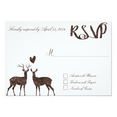 Watercolor Brown White Romantic Heart Country Rustic Deer Deers RSVP Wedding Card