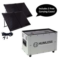 HUMLESS 1500 Series 1.3kWh w/ 2 Solar 100 Watt Panels Carrying Case Included