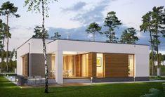 Casa moderna cu garaj si acoperis plat Home Building Design, Building A House, House Design, Beautiful House Plans, Beautiful Homes, Design Case, Porch Swing, Home Fashion, Outdoor Furniture
