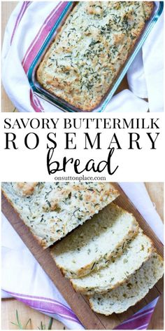 This Savory Rosemary Buttermilk Quick Bread Recipe is the perfect addition to any meal. Simple to make, moist and flavorful quick bread with cheese. bread Savory Rosemary Buttermilk Quick Bread Recipe - On Sutton Place Savory Bread Recipe, Quick Bread Recipes, Gourmet Recipes, Cooking Recipes, Easy Bread, Keto Recipes, Rosemary Recipes, Gourmet Foods, Bread Recipes