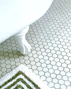 Bath room classic interior hexagon tiles 62 Ideas for 2019 Hexagon Tile Bathroom Floor, Hexagon Mosaic Tile, Shower Floor Tile, Bathroom Flooring, Floor Grout, Bathroom Grey, Bathroom Faucets, Bathroom Storage, Hex Tile