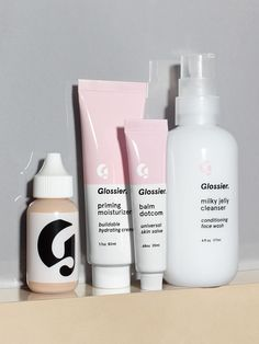 This is skincare as makeup—the Glossier Phase 1 Set is designed to work together to perfect (not conceal!) skin while requiring minimal effort on your end. Glossier Phase 1 Set, Perfecting Skin Tint, Basic Skin Care Routine, Milky Jelly Cleanser, Priming Moisturizer, Tinted Moisturizer, Moisturiser, Balm Dotcom, Perfume