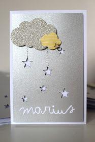 Hello!!   Aujourd'hui voici quelques faire-part réalisés pour la naissance du très joli Marius :-)  Des nuages, de la couture, des étoiles.....
