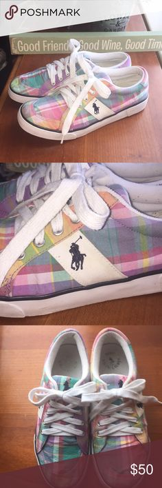 Polo by Ralph Lauren Fun Plaid Kicks 👟 Fun Spring/Summer plaids of Lavender, Baby Pink, Med Pink, Orange, Yellow, Green & White. Soles are highlighted with a Navy stripe Navy Polo Logo on the sides, Tongue & back of the heels Worn but in great conditions  ♨️Don't like my price, bundle with another for a discount OR make me an offer (REASONABLE OFFERS ONLY)♨️ Polo by Ralph Lauren Shoes Sneakers