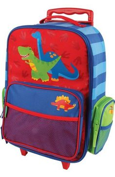 2a012682f97 Add some color and fun to your child s next trip with the Stephen Joseph  Dino Rolling Luggage. This wheeled suitcase features a vibrant design and a  variety ...
