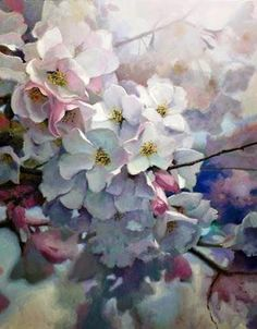 Cherry Light - a delicate oil painting by German born US artist Michael Godfrey. Oil Painting Flowers, Watercolour Painting, Watercolor Flowers, Watercolors, Gauche Painting, Art Floral, Botanical Art, Flower Art, Beautiful Flowers