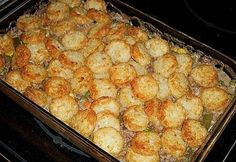 Venison (or ground beef) & Tater Tot Casserole. Country comfort food! Recipe.
