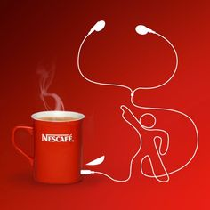 """Cute and simple line sketch - post copy """"Having a break with Nescafe and music? What song are you listening to right now?"""""""
