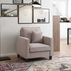 Perfect for curling up with a good book or spreading out while you watch a movie, an armchair like this is a great option for creating a cozy nook or additional seating in any living space Living Spaces, Living Room, Cozy Nook, Curling, Accent Chairs, Armchair, Gallery Wall, Movie, Watch