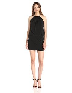 Jessica Simpson Womens Halter Blouson Necklace Dress Black 12 ** You can find out more details at the link of the image. (This is an affiliate link and I receive a commission for the sales)