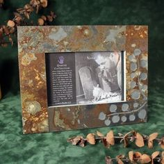 4x6 Real Slate Picture Frame  Leaves on Copper Stone by stonegifts, $37.50
