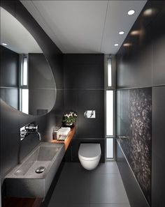16 Almost Pure Black Bathroom Design Ideas : Small Bathroom With Black Wall Color And Rectangle Sink With Oval Mirror Design Contemporary Bathroom Designs, Contemporary Decor, Bathroom Modern, Narrow Bathroom, Master Bathrooms, Concrete Bathroom, Dream Bathrooms, Black Bathrooms, Minimalist Bathroom