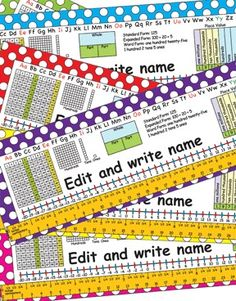 Back to School: 2nd Grade Common Core Editable Desk Plates. Edit and type in your student's name. Fun Dots