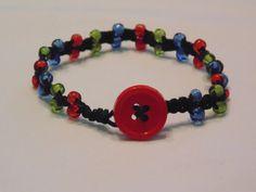 Macramed Black Hemp Bracelet with Clear Red, Blue, & Green Seed Beads by JennyLynCrafts, $4.50