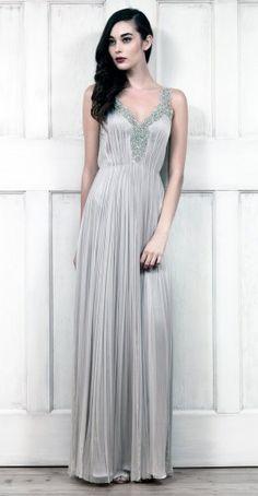 Vestido de noche plateado