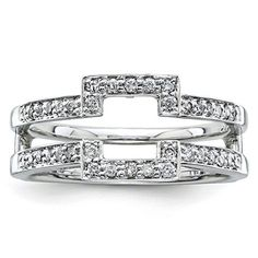 White Gold Polished Prong set Black and White Diamond Ring Guard - dwt White Diamond Ring, Diamond Solitaire Rings, Diamond Gemstone, White Gold Diamonds, White Gold Wedding Rings, Diamond Wedding Rings, Bridal Rings, Wedding Bands, Wedding Ring Enhancers