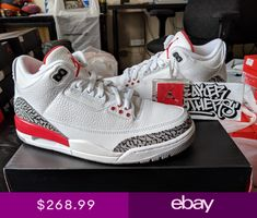 premium selection 9f91e f6ffe Nike Air Jordan Retro III 3 OG Katrina Hall Of Fame White Fire Red 136064 -116