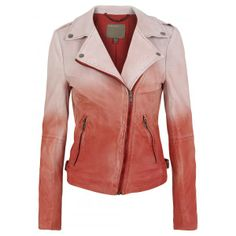 ombre  leather | Muubaa Fornas Dip Dyed Ombre Leather Biker Jacket in Coral