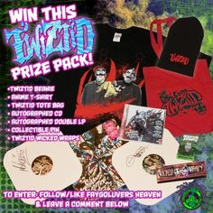 Win this TWIZTID Continuous Evilution Prize Pack featuring Autographed Album Vinyl more!   Alright listen up Juggalos and Juggalettes! We have an INCREDIBLY dope giveaway going on right this second! In support ofTwiztids newest albumThe Continuous Evilution of Lifes ?s Majik Ninja Entertainment reached out to us to do a big ass prize pack giveaway!  One winner will receive the following:  Twiztid Beanie  Twiztid T-shirt (XL)  Twiztid Tote Bag  Autographed CD copy of The Continuous Evilution…