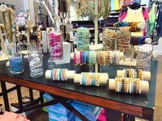 Apricot lane in Bradley fair - Bracelet Bar {prices vary, $6 - $16} || We've restocked our Erimish bracelets! These best sellers are GREAT for layering on and they add the perfect touch to any outfit! Bracelet Displays For Craft Shows, Craft Show Displays, Craft Stall Display, Display Ideas, Ermish Bracelets, Jewelry Show, Jewelry Making, Jewellery Display, Jewellery Holder