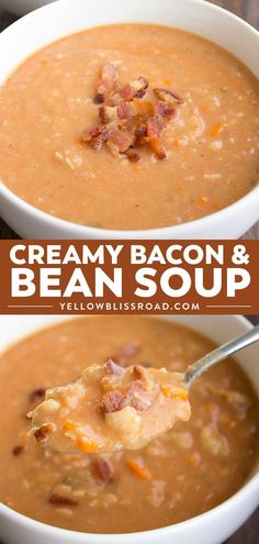 This Bacon and Bean Soup is sure to make it into your fall recipe arsenal. Easy … This Bacon and Bean Soup is sure to make it into your fall recipe arsenal. Easy to make and full of flavor, this recipe is always a crowd pleaser! Crock Pot Recipes, Fall Soup Recipes, Chili Recipes, Gourmet Recipes, Cooking Recipes, Soup Recipes With Bacon, Cooking Tips, Dinner Recipes, Cooking Steak
