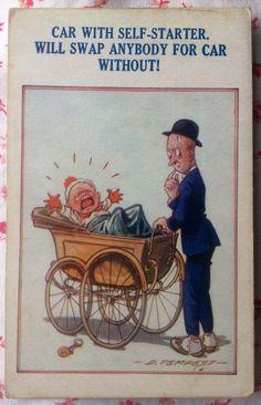 1910's UNUSED Douglas Tempest Postcard ~ Matrimonial Comic No. 2 ~ Car ~ Buggy