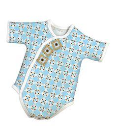 Look what I found on #zulily! Blue Geometric Wrap Bodysuit - Preemie & Infant #zulilyfinds
