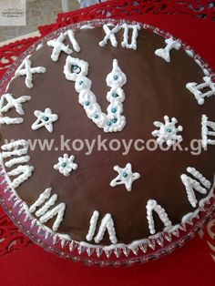 New Year's Chocolate cake Chocolate Sweets, Love Chocolate, New Year's Cake, Greek Recipes, New Years Eve, Deserts, Dessert Recipes, Birthday Cake, Holiday Decor