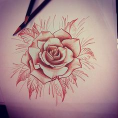 Tattoo Inspiration- like the leaves Rose Drawing Tattoo, Tattoo Sketches, Tattoo Drawings, Rose Tattoos, Flower Tattoos, Dibujos Pin Up, Tattoo Motive, Desenho Tattoo, Tattoo Stencils