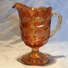 Brockwitz 'Moonprint' marigold carnival glass jug