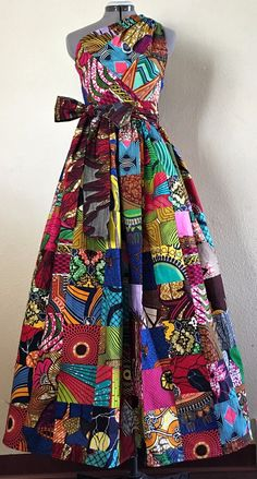 Dazzling African Wax Print Parchwork One Shoulder Dress With Pockets and Tie Belt 100% Cotton. Ankara | Dutch wax | Kente | Kitenge | Dashiki | African print bomber jacket | African fashion | Ankara bomber jacket | African prints | Nigerian style | Ghanaian fashion | Senegal fashion | Kenya fashion | Nigerian fashion | Ankara crop top (affiliate)