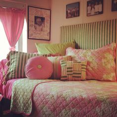 Make your dorm bed into a daybed... bomb with pillows and use 2 headboards side x side.