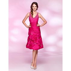 A-line V-neck Knee-length Taffeta Cocktail Dress – USD $ 98.99