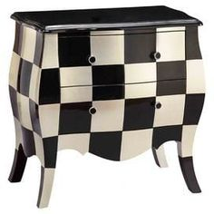Fun for a bathroom, maybe! Bombe chest with a checkerboard design and 2 drawers. Product: ChestConstruction Material: WoodColor: Black and creamFeatures: Checkerboard designDimensions: H x W x D Lane Furniture, Cool Furniture, Painted Furniture, Furniture Design, Furniture Ideas, Accent Chests And Cabinets, Ideas Hogar, My Home Design, Home Office Decor