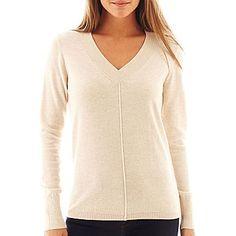 jcp | jcp™ Long-Sleeve Fine-Gauge V-Neck Sweater