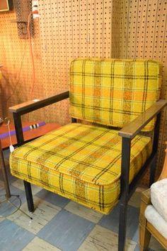 vintage 1970's bright plaid chairs
