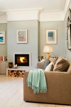Farrow and Ball Light Blue painted walls in a modern country room with a calm feel. #tranquilroom