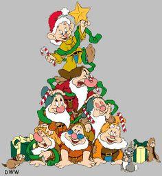 Christmas - Disney - Seven Dwarfs Disney Merry Christmas, Disney Christmas Decorations, Christmas Yard Art, Christmas Cartoons, Christmas Characters, Christmas Wood, Outdoor Christmas, Christmas Pictures, Vintage Christmas