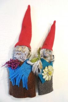 Handmade Gnome Married Couple Felt and Clay Art Doll Ornament Set by Jeanne Fry