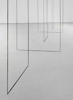 Fred Sandback (1943-2003), Untitled (Sculptural Study, Six-part Construction) (detail), ca. 1977/2008. Black acrylic yarn, Courtesy David Zwirner Gallery. minimal, minimalist, minimalism, art
