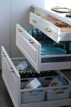 Ikea's new Sektion cabinet organizers help to squeeze out as much utility as possible. These plate organize...