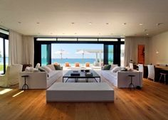 Living room with a view from a waterfront house