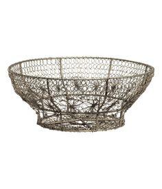 Metal wire basket. Height 4 in., diameter at top 9 3/4 in.