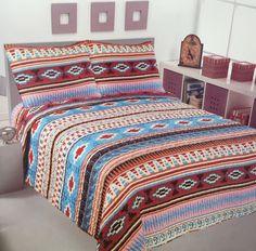 3 Piece Aztec Mesa SouthWestern Design Star Quilt BedSpread Comforter Style