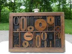 Antique Letterpress Wood Type Graphic Design Letter O In Wood Type Tray 47 O's