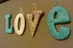 So cute! Yarn wrapped letters. This would be so cute for a nursery with a child's name! @Karly Robinson