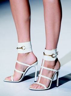 Gucci Ivory 37 Textured Leather Ursula Ankle Cuff Horsebit Buckle ...