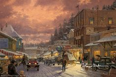 Thomas Kinkade - 	  Christmas on Main Street  1990