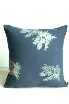 New for Spring-Steel Blue Pillow with Algae Print Pillow Forms, Pillow Inserts, Pillow Covers, Blue Pillows, Throw Pillows, Spring Steel, Free Studio, Dining Rooms, Fabric